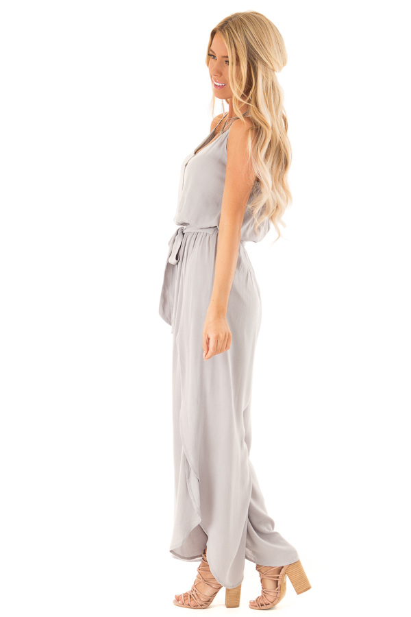 Pebble Grey Sleeveless Jumpsuit with Leg Slits and Back Tie side full body
