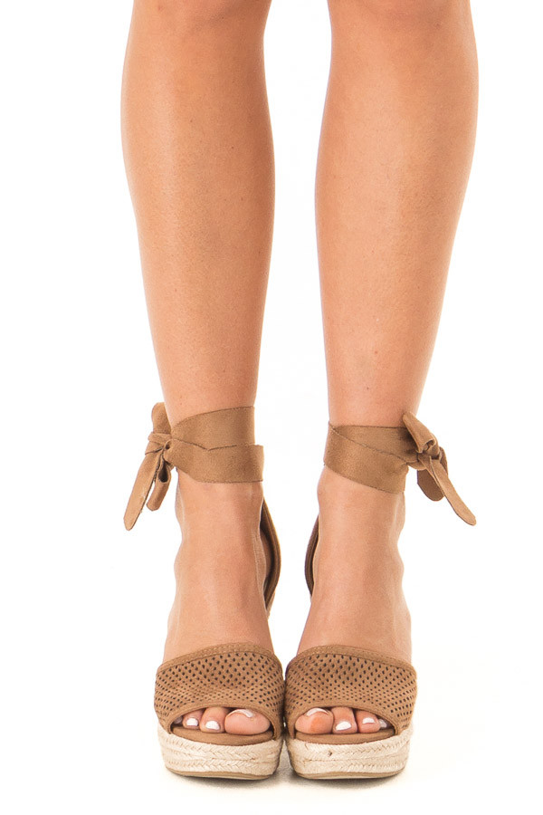 Dark Camel Suede Wedge with Braided Heel Detail front view