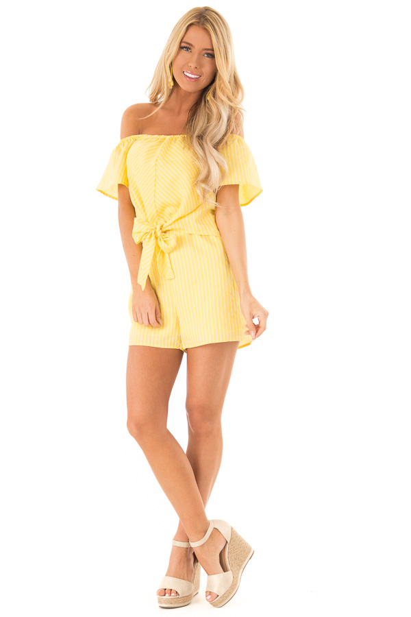 ef53c7cdddaf ... Lemon Yellow Striped Off the Shoulder Romper with Front Tie front full  body ...