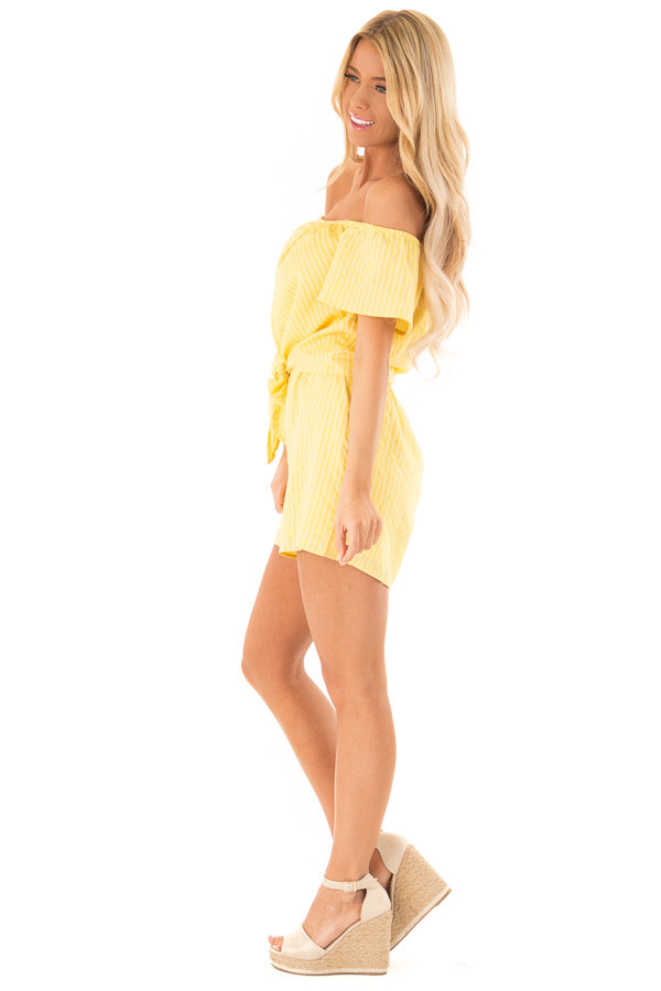 46f460579c02 ... Lemon Yellow Striped Off the Shoulder Romper with Front Tie side full  body ...
