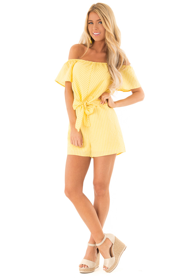 Lemon Yellow Striped Off the Shoulder Romper with Front Tie front full body