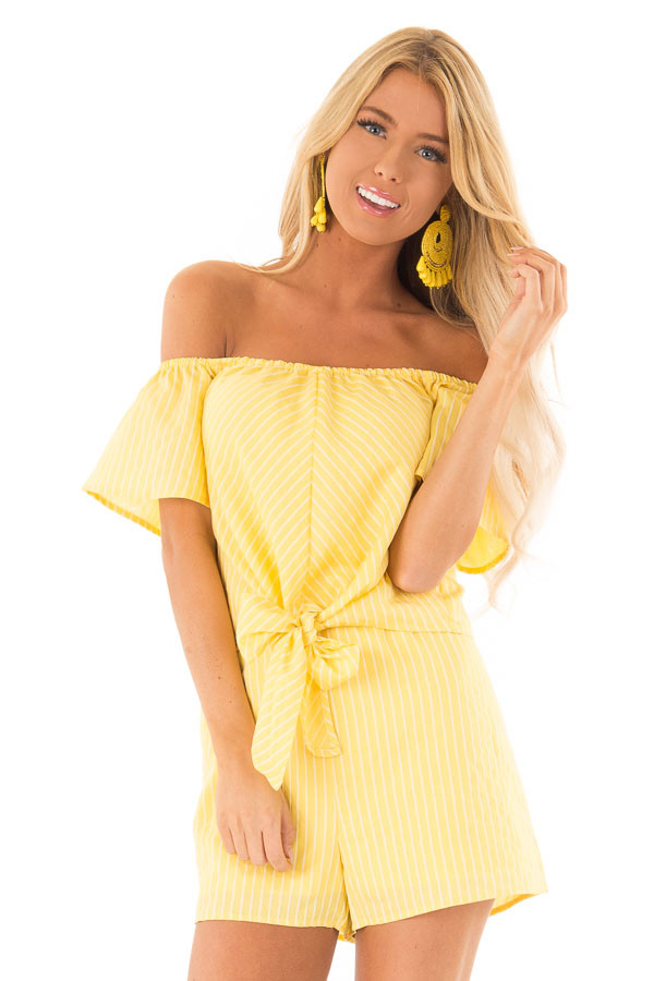 Lemon Yellow Striped Off the Shoulder Romper with Front Tie front close up