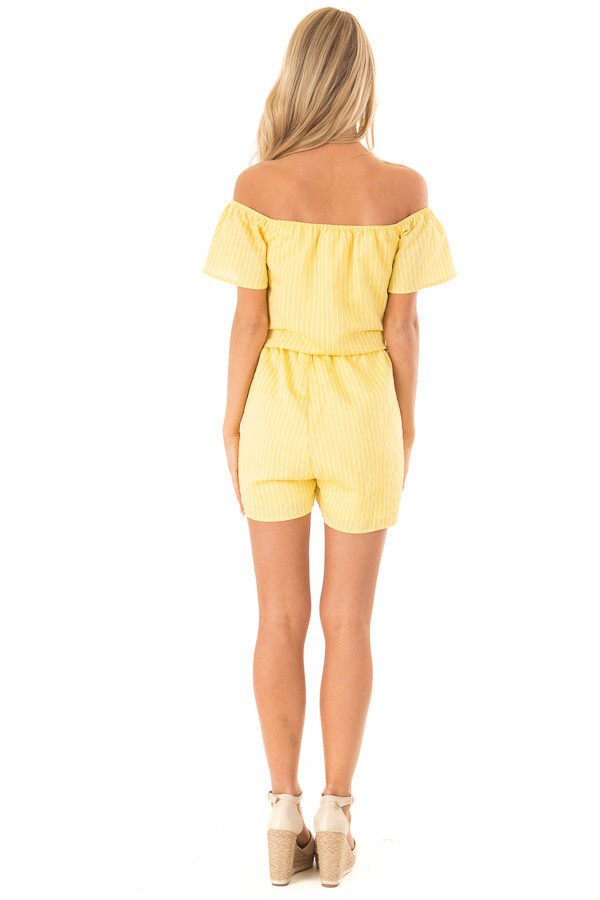 65bc3e25b1a8 ... Lemon Yellow Striped Off the Shoulder Romper with Front Tie back full  body ...