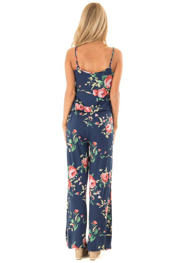 Deep Navy Floral Print Jumpsuit with Waist Tie back full body