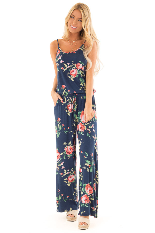 Deep Navy Floral Print Jumpsuit with Waist Tie front full body