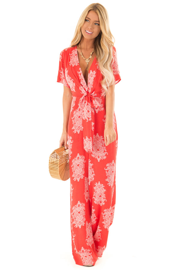 Tomato Red and White Paisley Jumpsuit with Waist Tie front full body