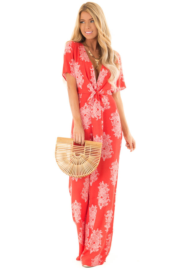 Tomato Red and White Paisley Jumpsuit with Waist Tie