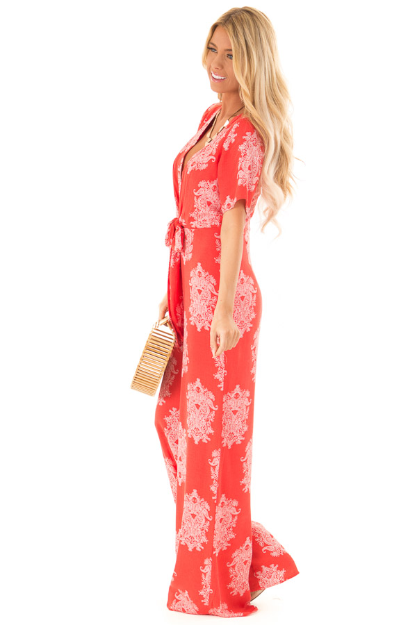 Tomato Red and White Paisley Jumpsuit with Waist Tie side full body