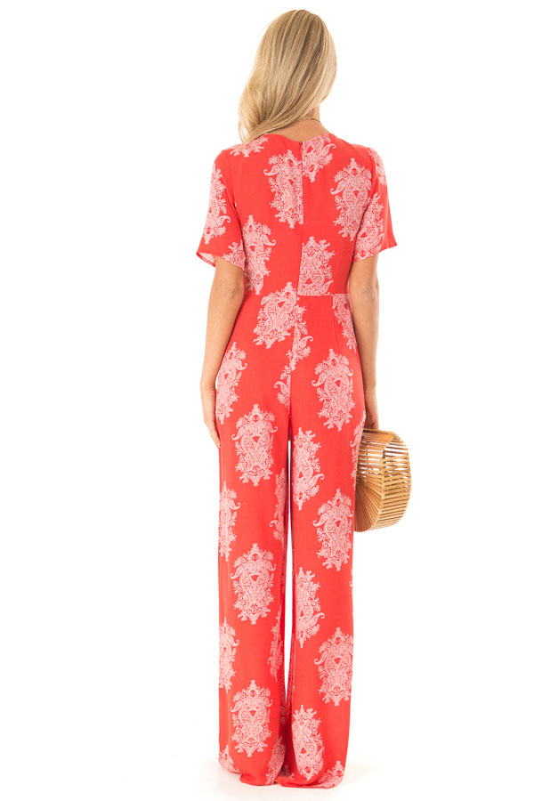 Tomato Red and White Paisley Jumpsuit with Waist Tie back full body