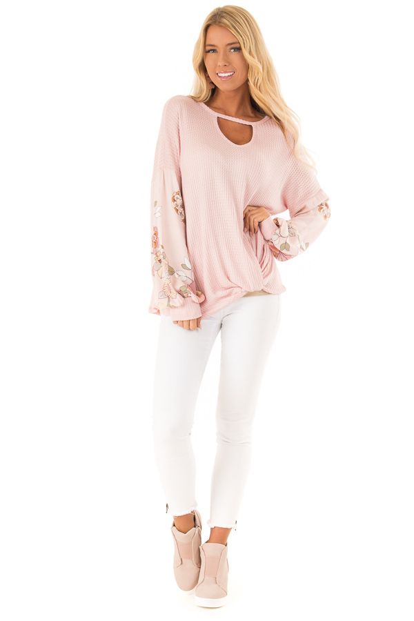 Blush Waffle Knit Top with Floral Puff Sleeves and Cutout front full body