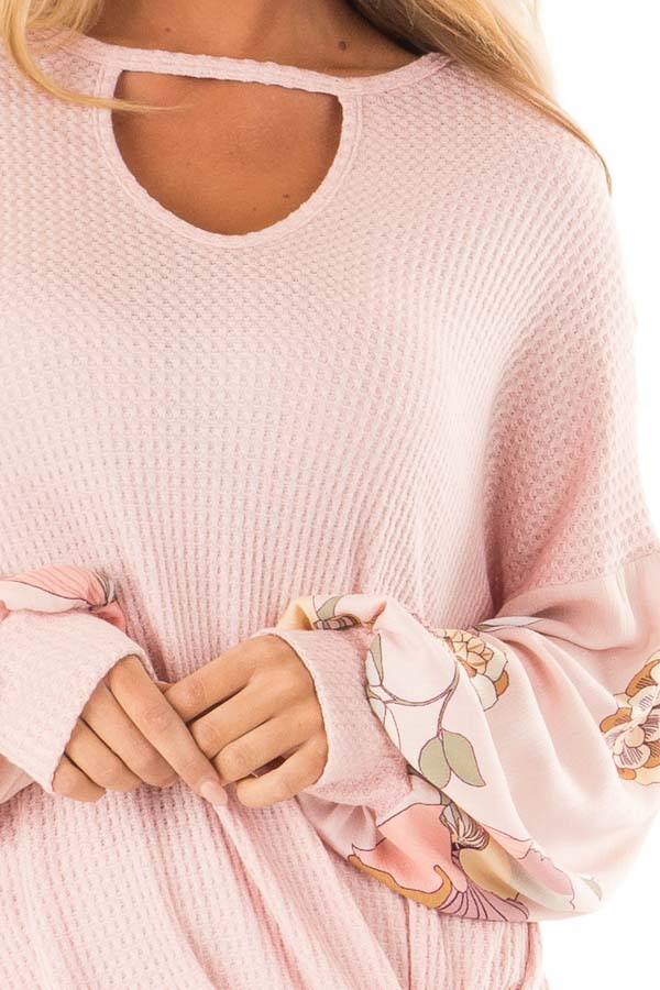 Blush Waffle Knit Top with Floral Puff Sleeves and Cutout detail