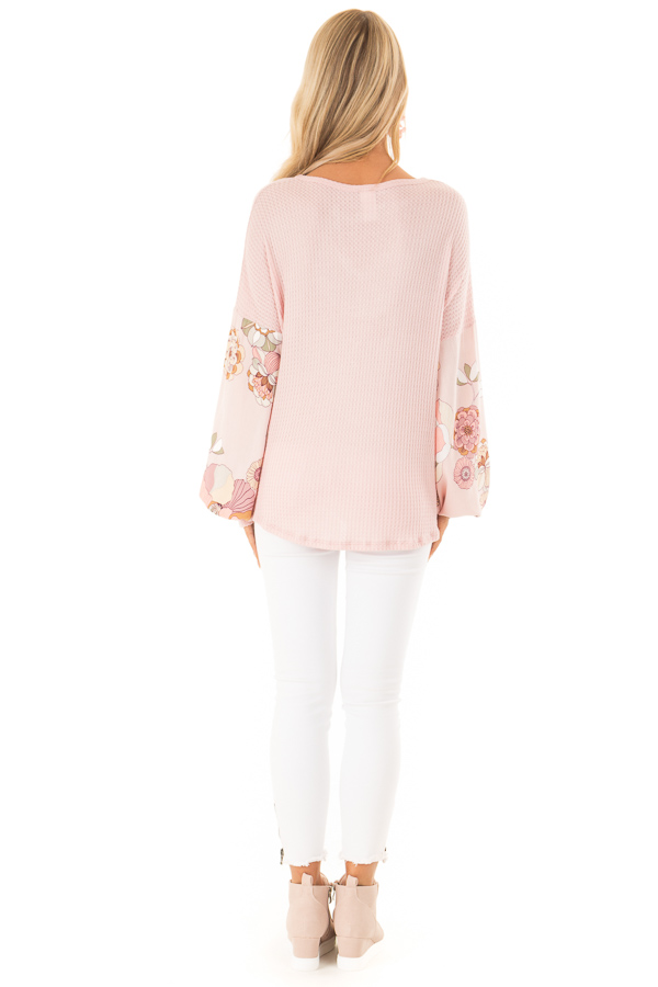 Blush Waffle Knit Top with Floral Puff Sleeves and Cutout back full body