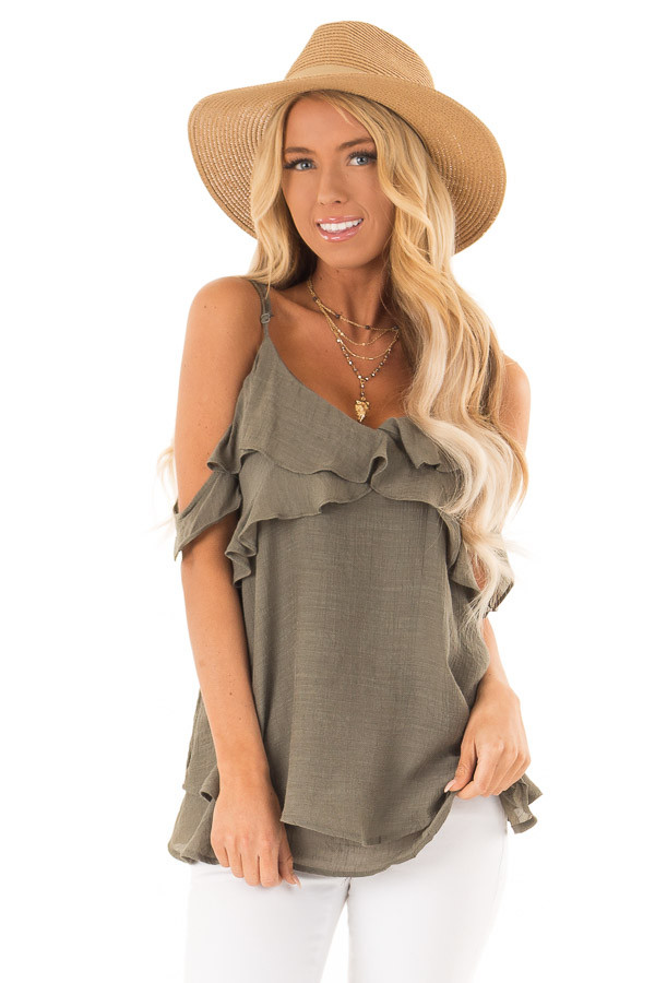 79e83615bc1f3a Olive Cold Shoulder Top with Ruffle Details - Lime Lush Boutique