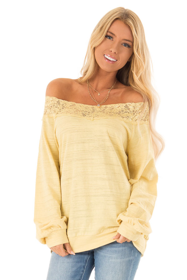 94bb56862e0bcb Light Mustard Off Shoulder Long Sleeve Top with Lace Detail front close up