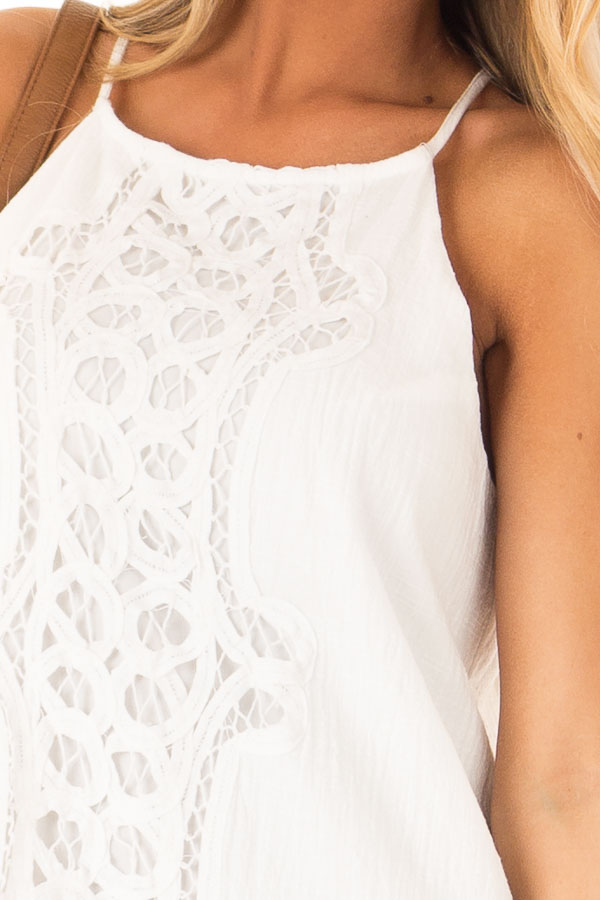 Off White High Neck Spaghetti Strap Dress with Lace Contrast detail