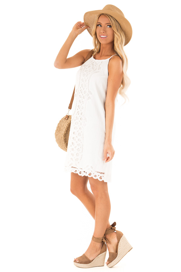Off White High Neck Spaghetti Strap Dress with Lace Contrast side full body