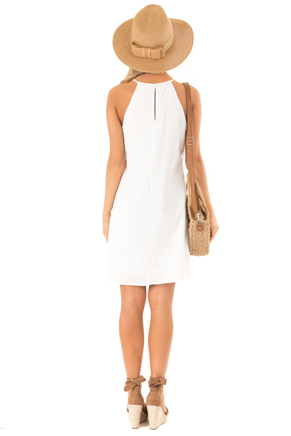 Off White High Neck Spaghetti Strap Dress with Lace Contrast back full body