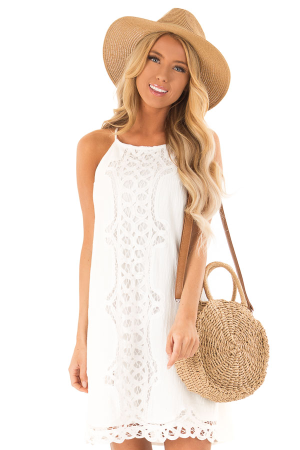 Off White High Neck Spaghetti Strap Dress with Lace Contrast front close up