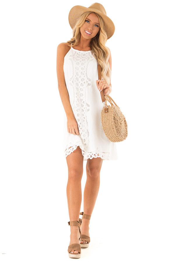 Off White High Neck Spaghetti Strap Dress with Lace Contrast front full body