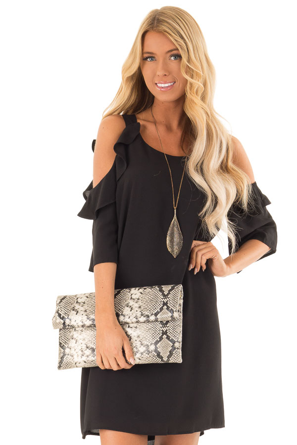 0c4db0e0a6c Midnight Black Cold Shoulder Dress with Ruffle Detail - Lime Lush ...