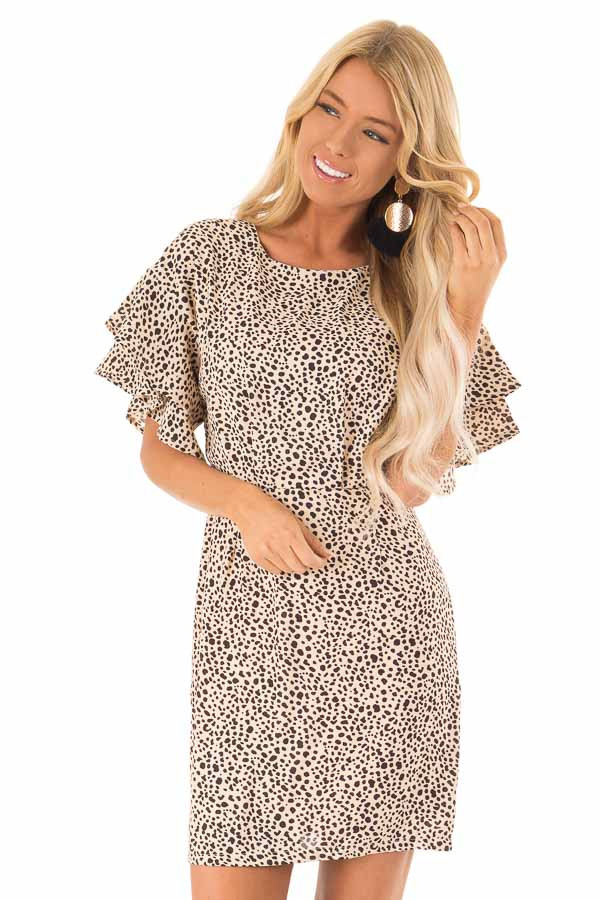 Beige and Black Printed Dress with Short Ruffle Sleeves front close up