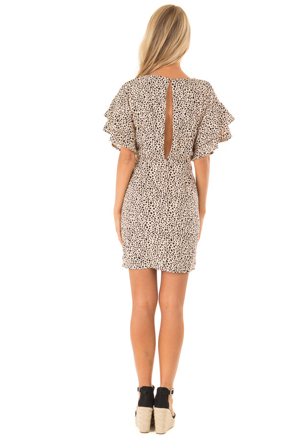 Beige and Black Printed Dress with Short Ruffle Sleeves back full body