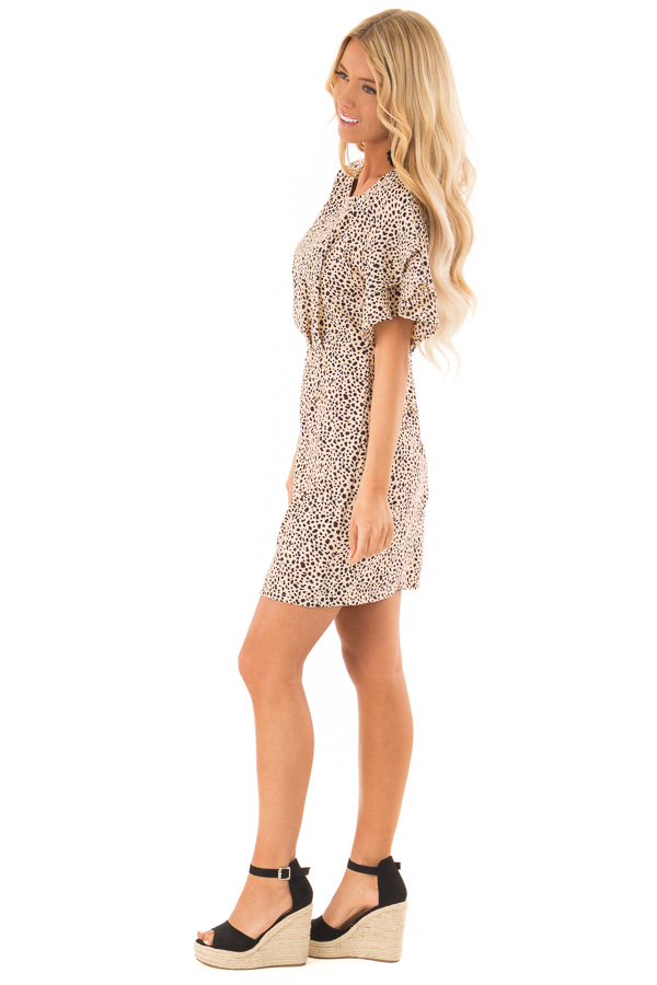 Beige and Black Printed Dress with Short Ruffle Sleeves side full body