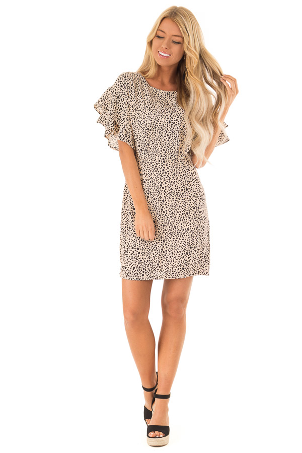 Beige and Black Printed Dress with Short Ruffle Sleeves front full body
