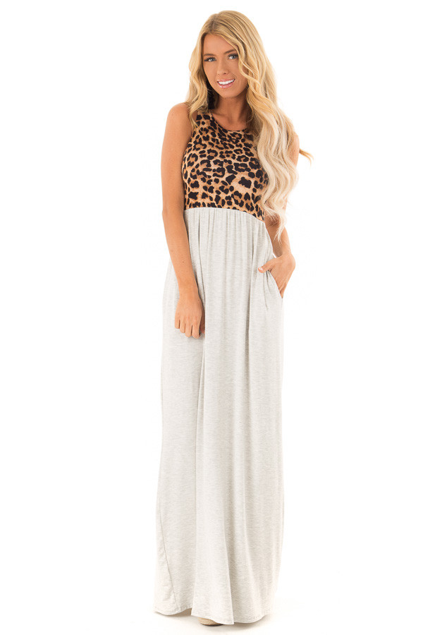 Heather Grey Maxi Dress with Leopard Contrast and Side Pockets front full body