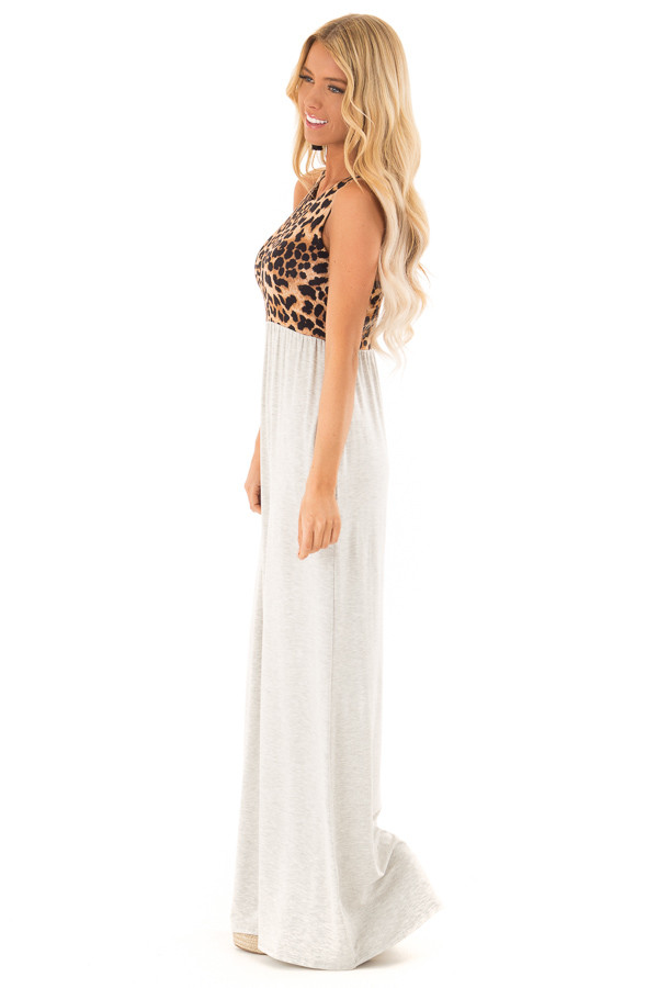 Heather Grey Maxi Dress with Leopard Contrast and Side Pockets side full body