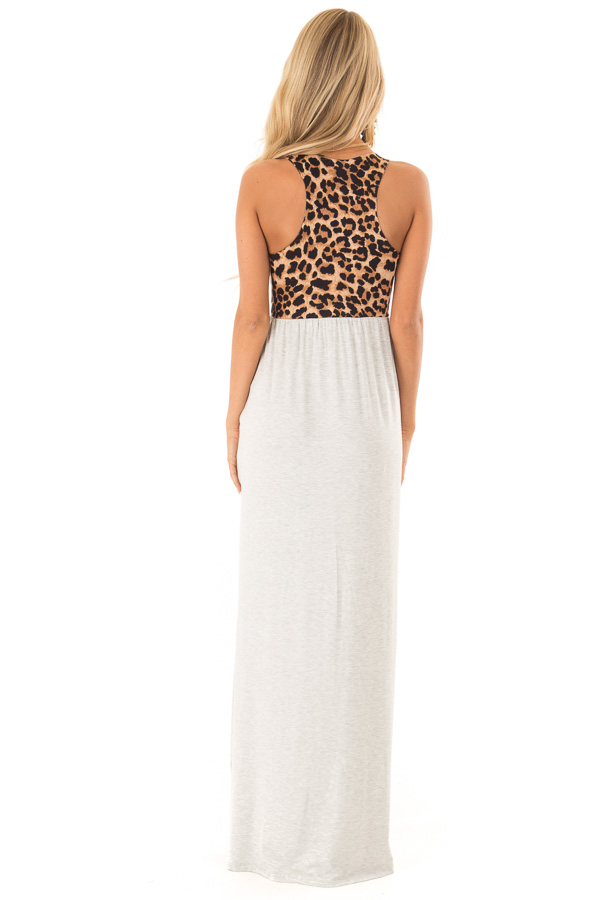 Heather Grey Maxi Dress with Leopard Contrast and Side Pockets back full body
