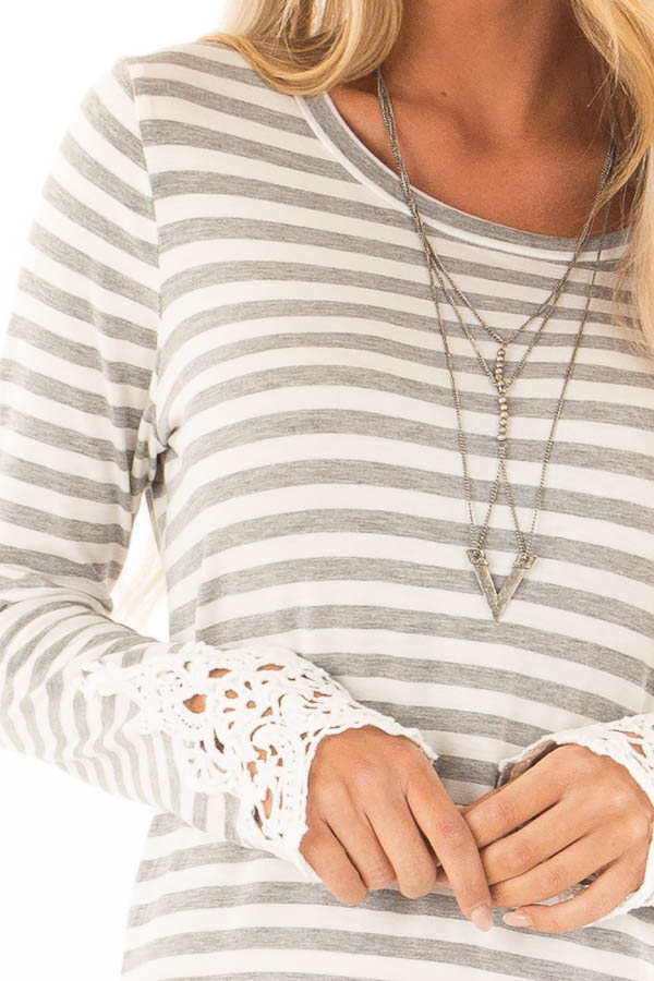 Heather Grey and Ivory Striped Top with Lace Sleeve Detail detail