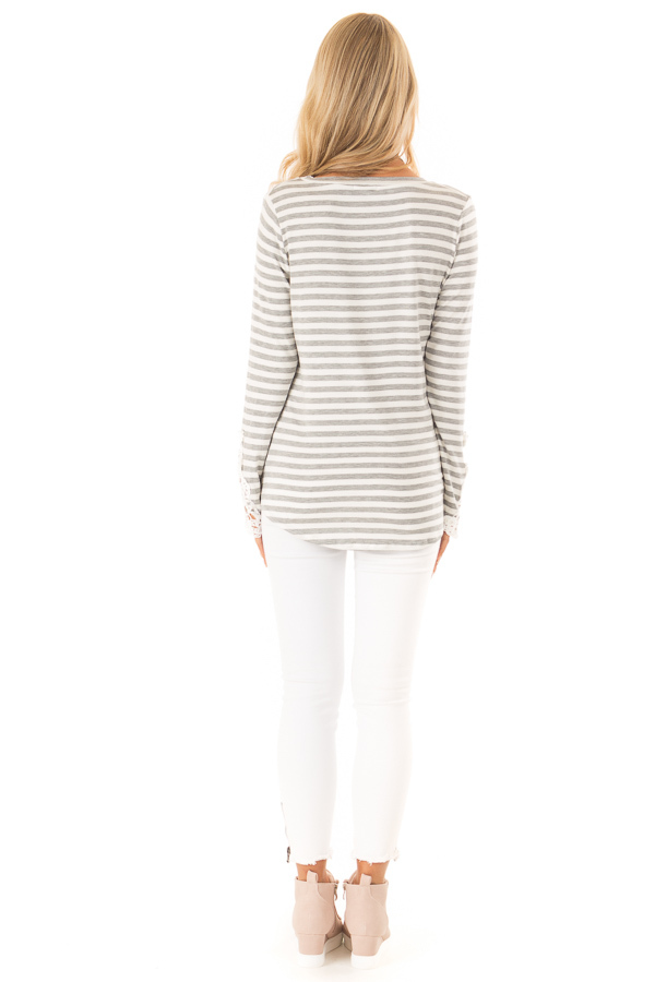 Heather Grey and Ivory Striped Top with Lace Sleeve Detail back full body