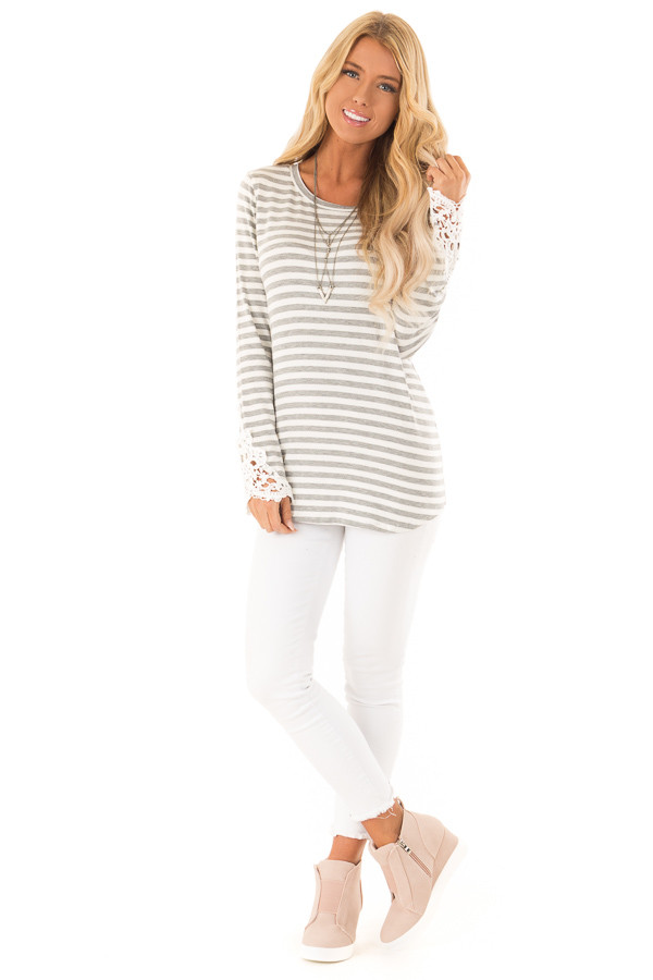 Heather Grey and Ivory Striped Top with Lace Sleeve Detail front full body