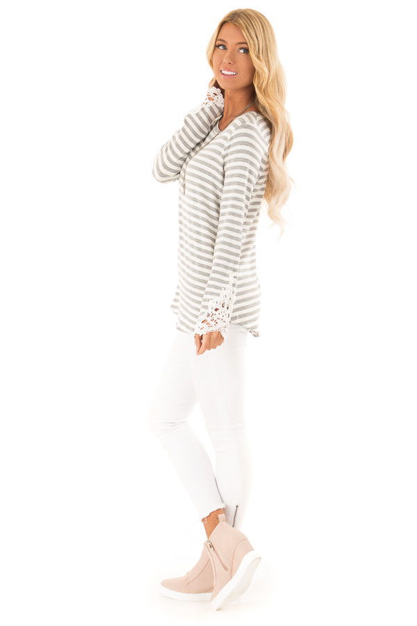 Heather Grey and Ivory Striped Top with Lace Sleeve Detail side full body