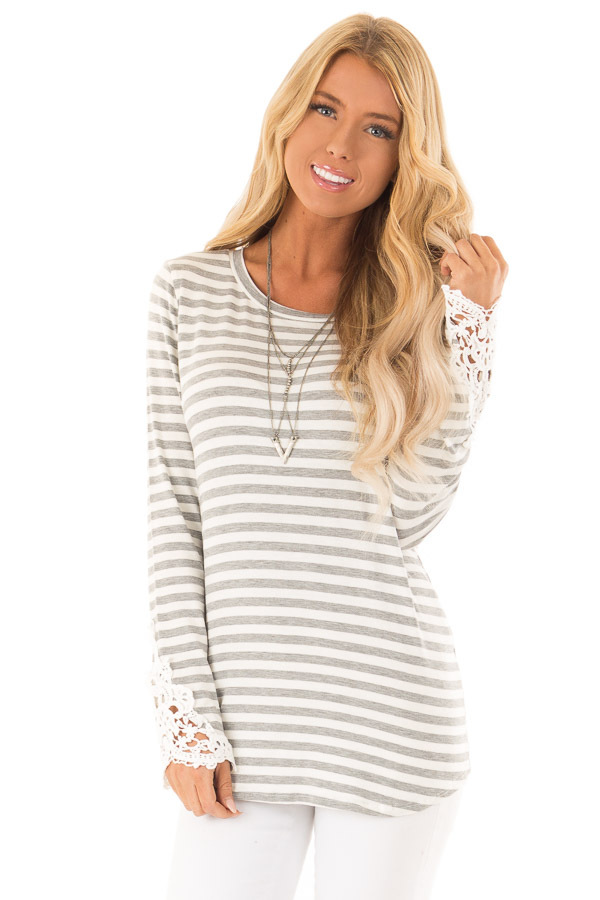 Heather Grey and Ivory Striped Top with Lace Sleeve Detail front close up
