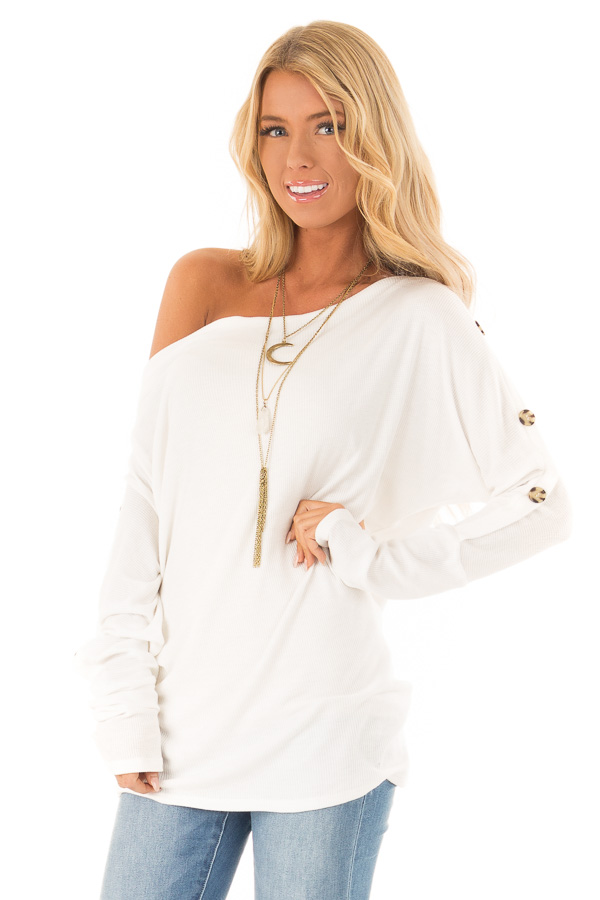 994e9e0dab45c White Waffle Knit Off the Shoulder Top with Button Detail front close up