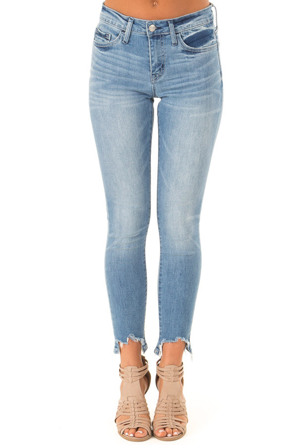 Medium Wash Mid Rise Skinny Jeans with Destroyed Hemline front view
