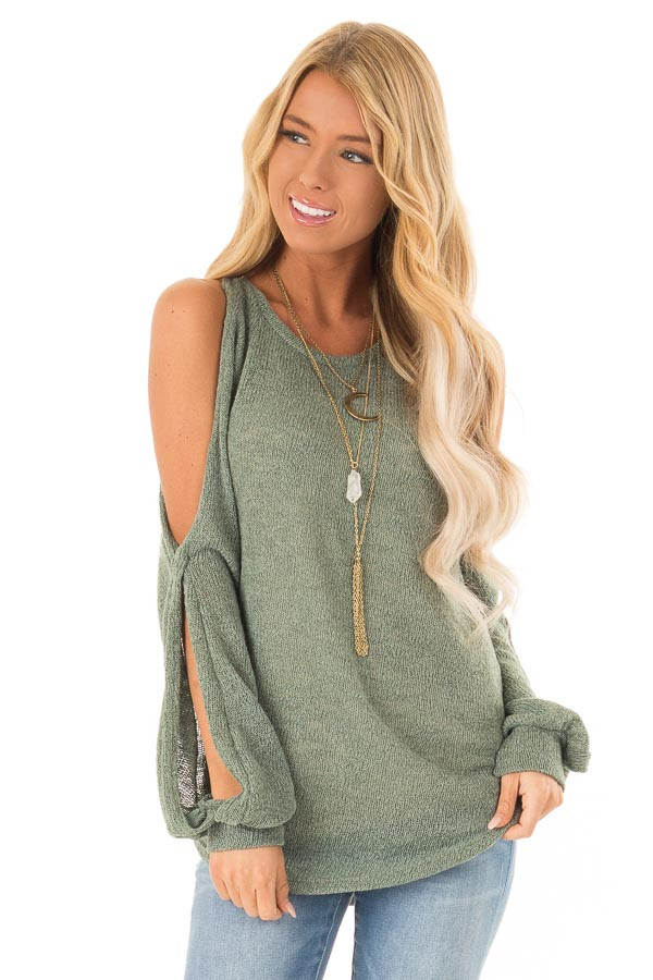 9760eb5a08670c Light Olive Loose Cold Shoulder Long Sleeve Top - Lime Lush Boutique