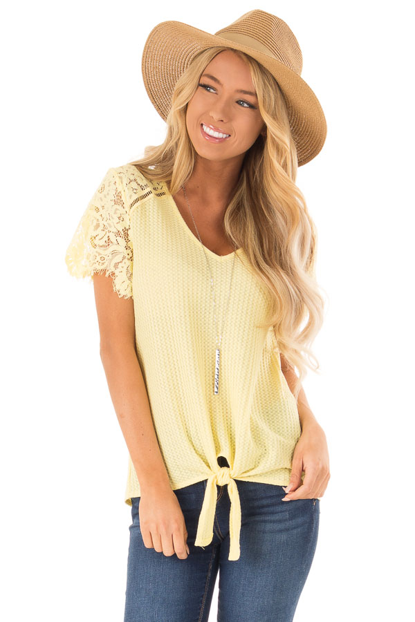 Dandelion Yellow Waffle Knit Top with Short Lace Sleeves front close up