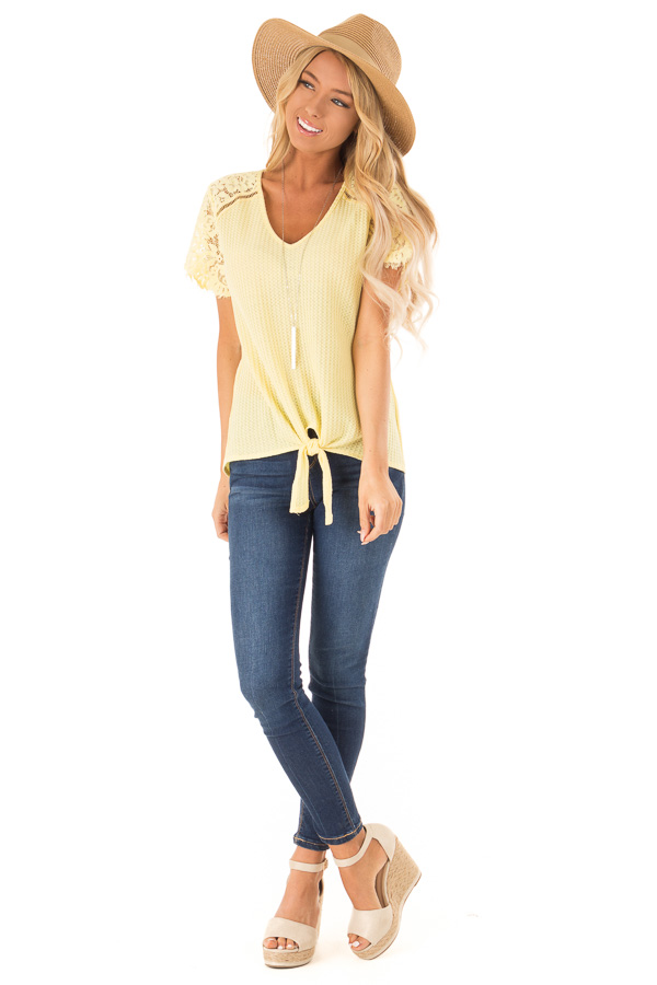 Dandelion Yellow Waffle Knit Top with Short Lace Sleeves front full body