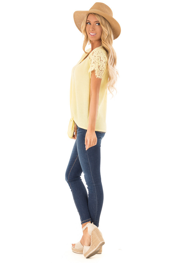 Dandelion Yellow Waffle Knit Top with Short Lace Sleeves side full body