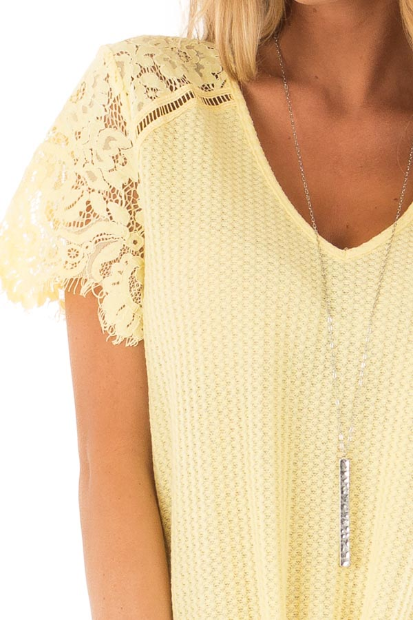 Dandelion Yellow Waffle Knit Top with Short Lace Sleeves detail