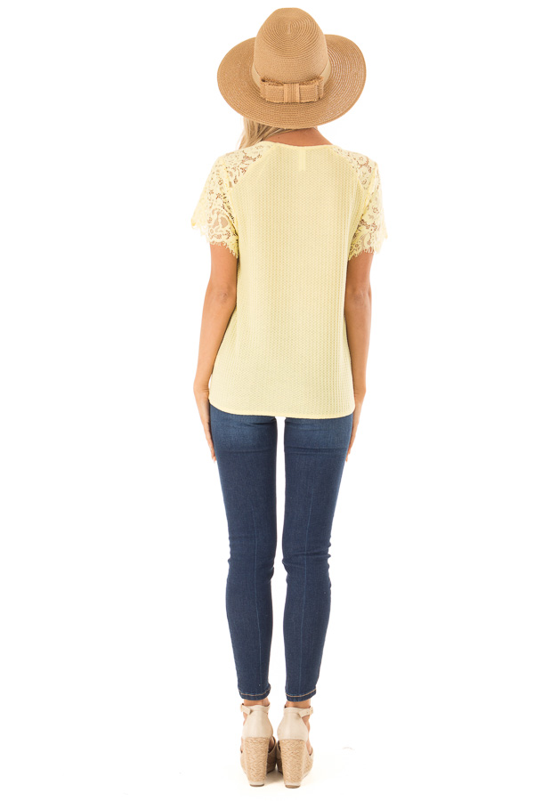 Dandelion Yellow Waffle Knit Top with Short Lace Sleeves back full body