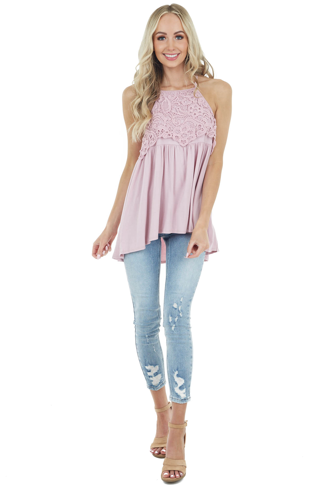 Blush Rose Sleeveless Top with Crochet Lace Detail