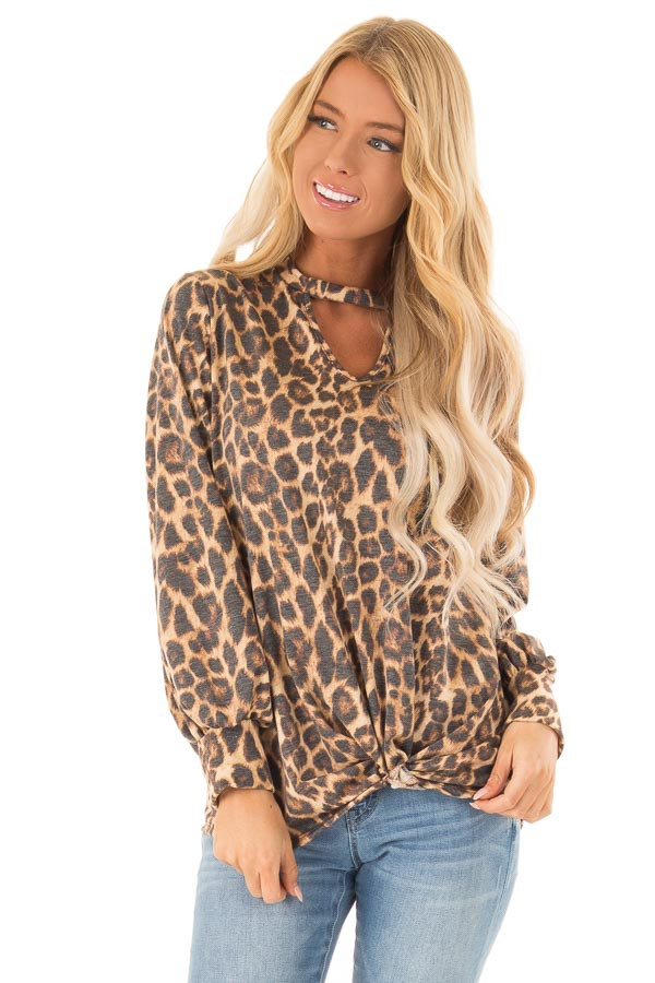Caramel Cheetah Print Long Sleeve Top with Chest Cutout front close up