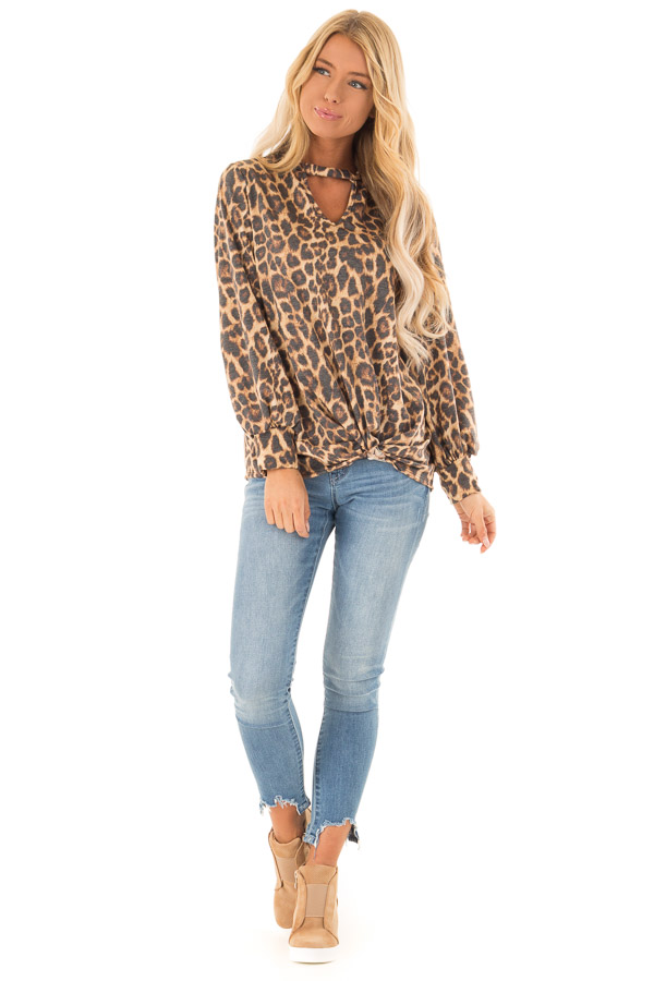 Caramel Cheetah Print Long Sleeve Top with Chest Cutout front full body