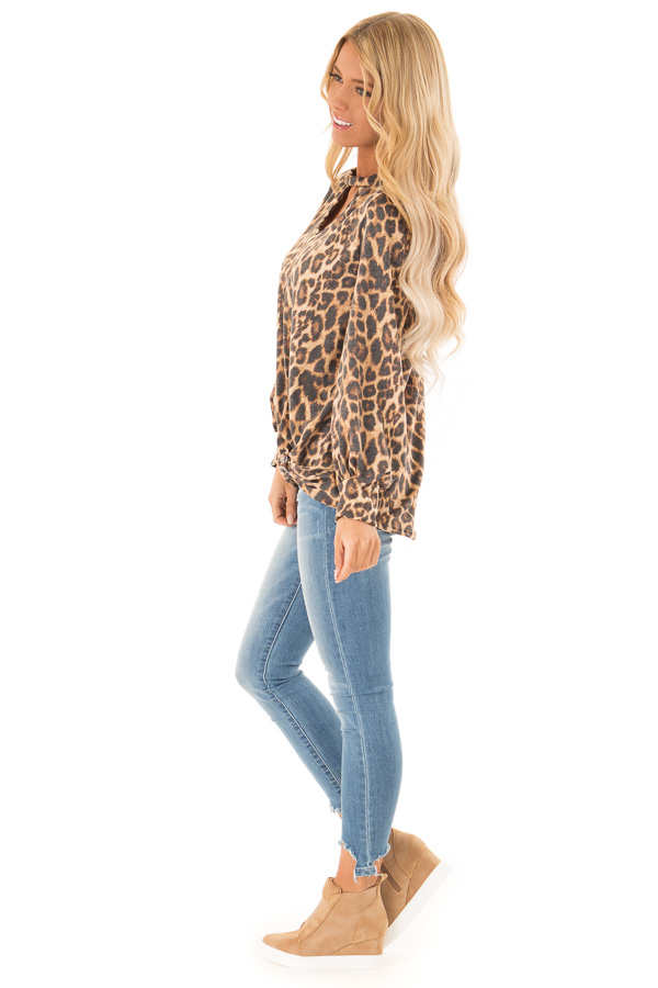 Caramel Cheetah Print Long Sleeve Top with Chest Cutout side full body