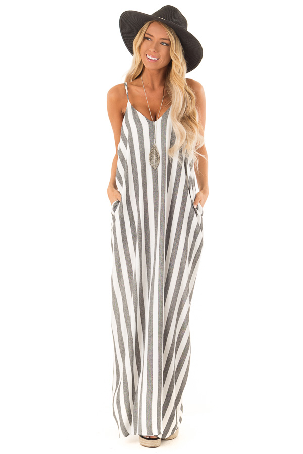 bd73cb96866e Dark Grey and Ivory Striped Maxi Dress with Pockets - Lime Lush Boutique