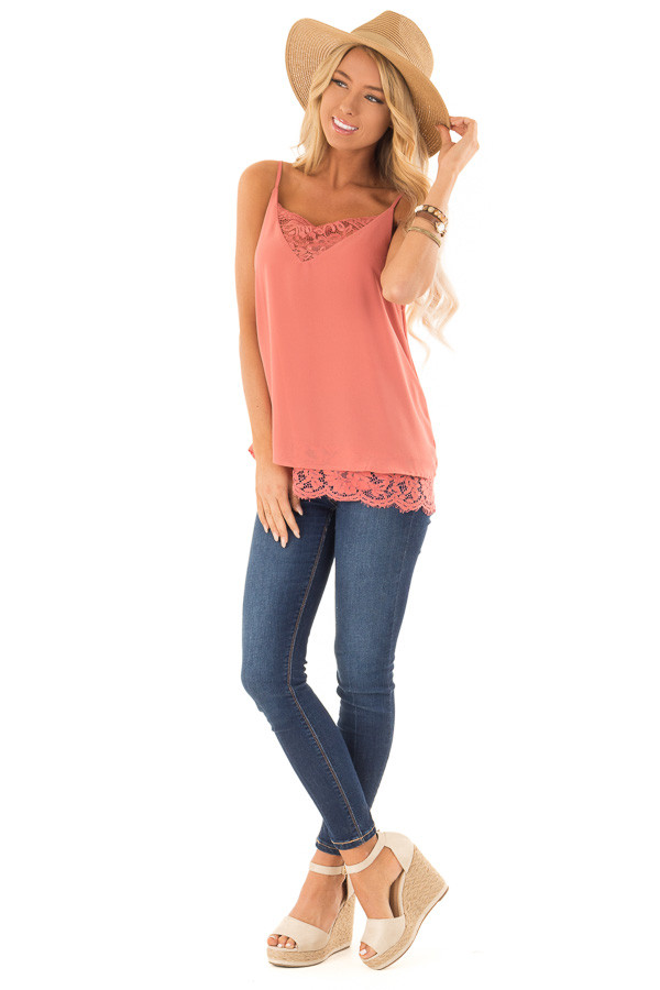 Marsala Tank Top with Lace Detail on Neckline and Hem front full body